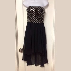 Black Strapless Mermaid Look Asymmetrical Dress